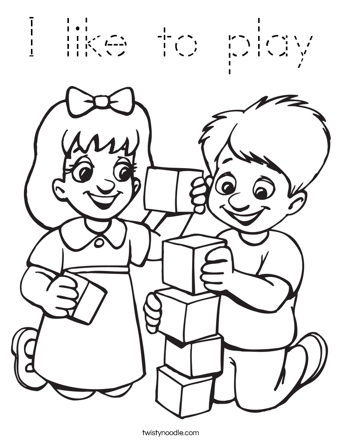I like to play Coloring Page