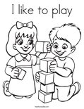 I like to playColoring Page
