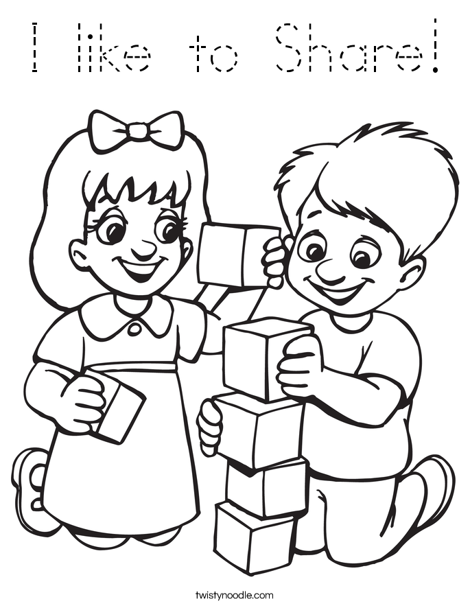 I like to Share! Coloring Page