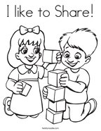 I like to Share Coloring Page