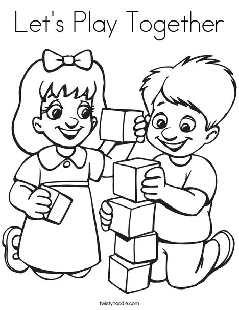 Kids Playing Blocks Coloring Page