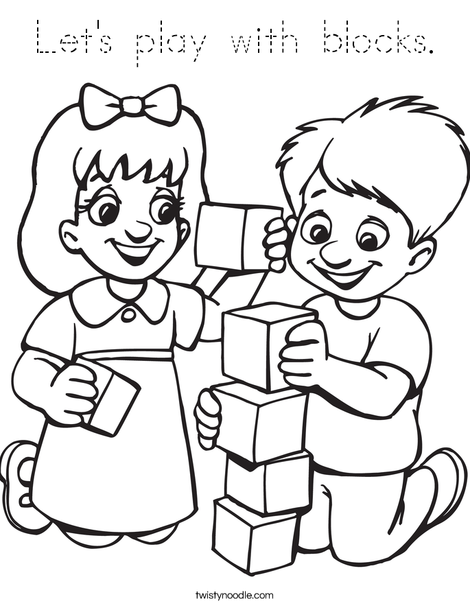 Let's play with blocks. Coloring Page
