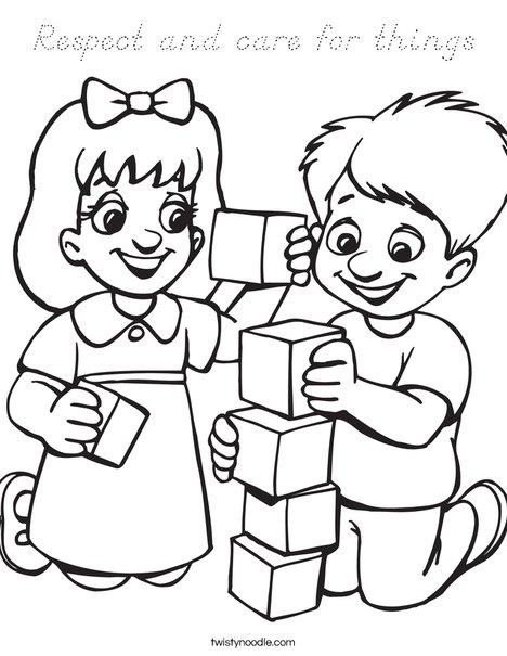 Kids Playing Blocks Coloring Page