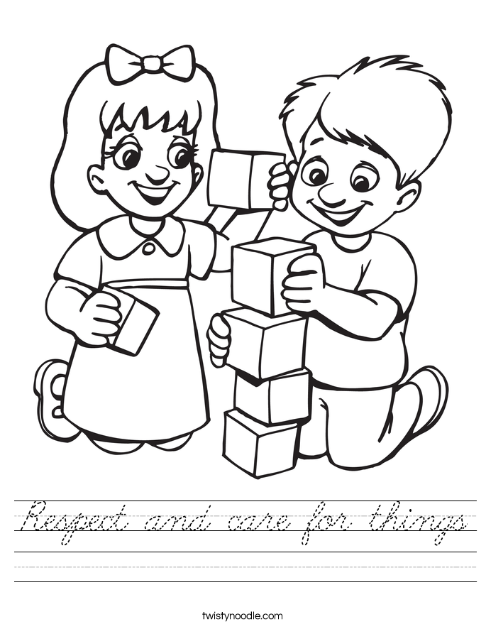 Respect and care for things Worksheet