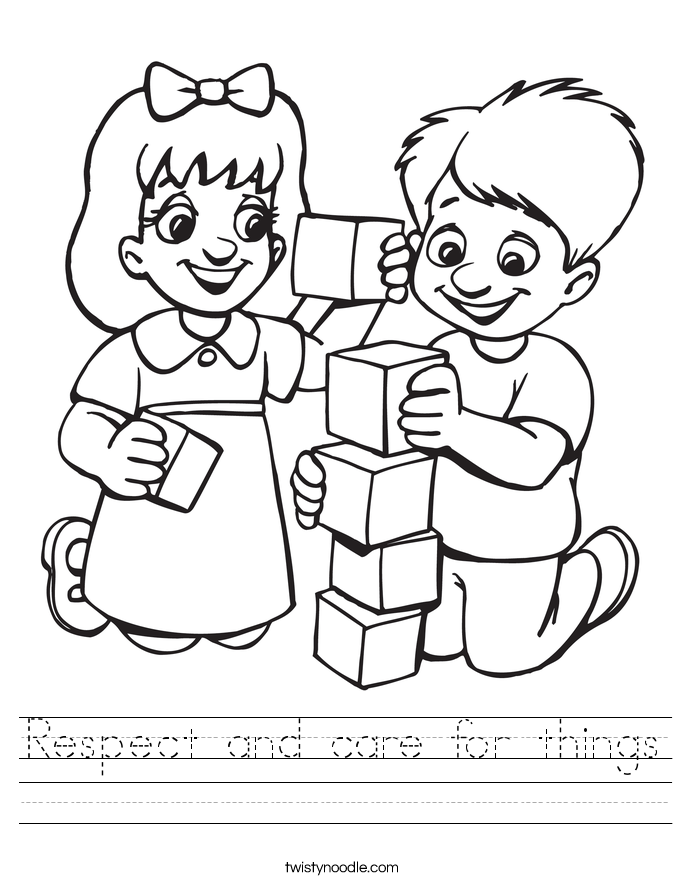 Respect Worksheets Respect and care for things