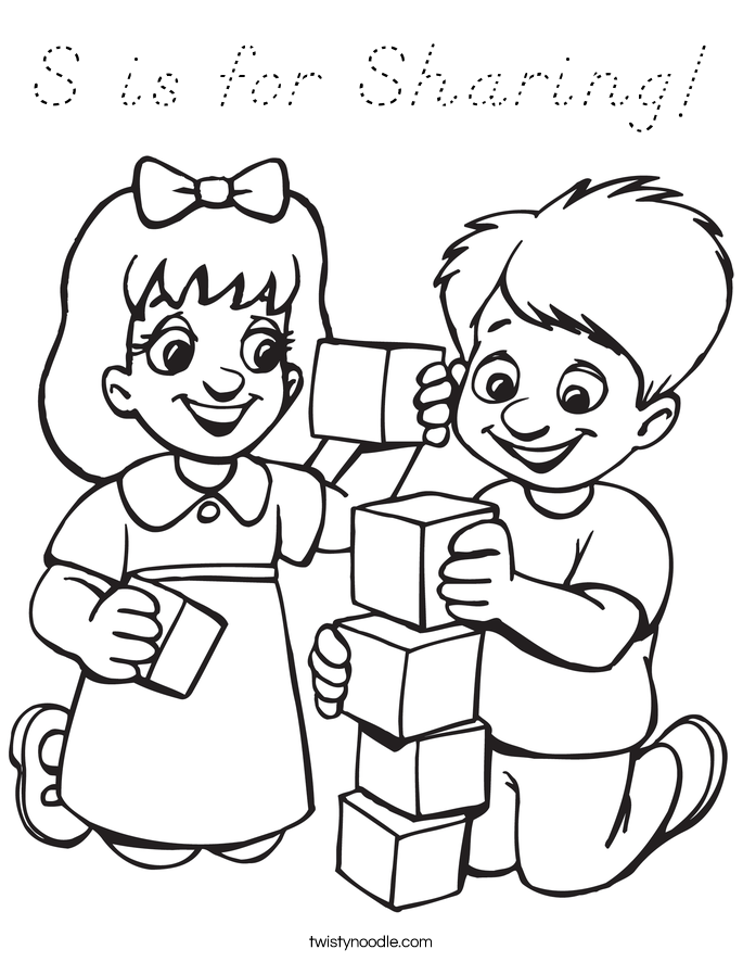 S is for Sharing! Coloring Page