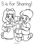 S is for Sharing!Coloring Page
