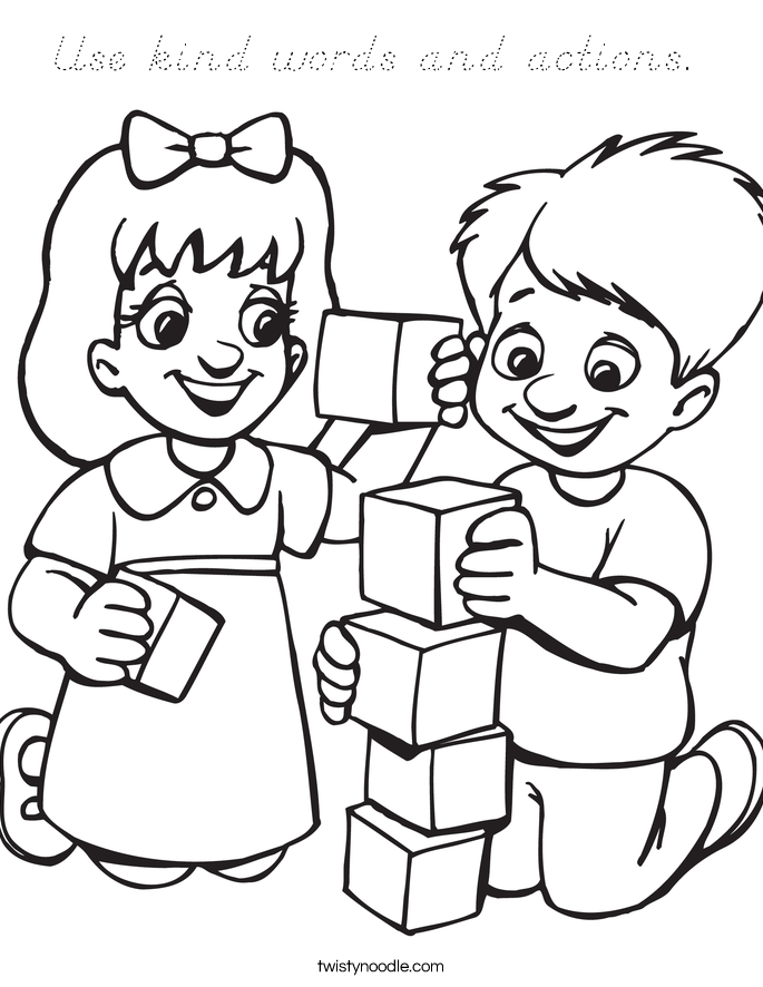 Use kind words and actions.  Coloring Page