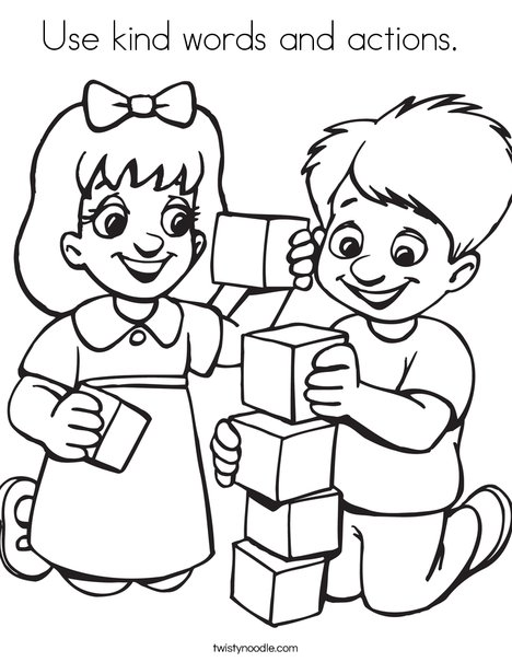 Use Kind Words And Actions Coloring Page on Healthy Food Coloring Pages For Kids