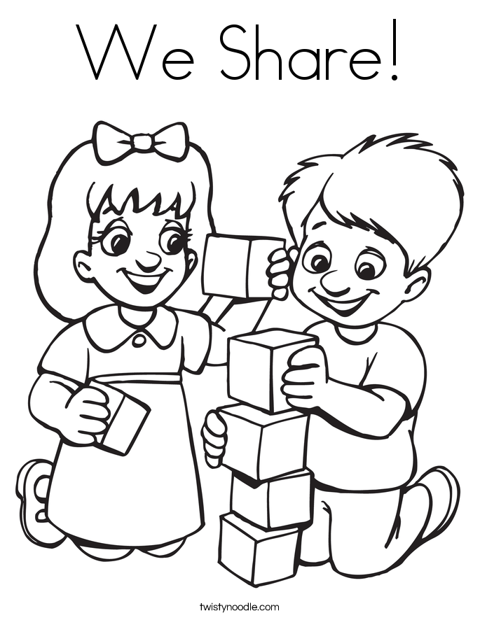 We Share Coloring Page on Centers Sunday 4 Free K 2