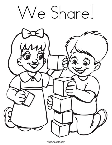 we share coloring page twisty noodle Caring Coloring Pages Helping Others Coloring Pages