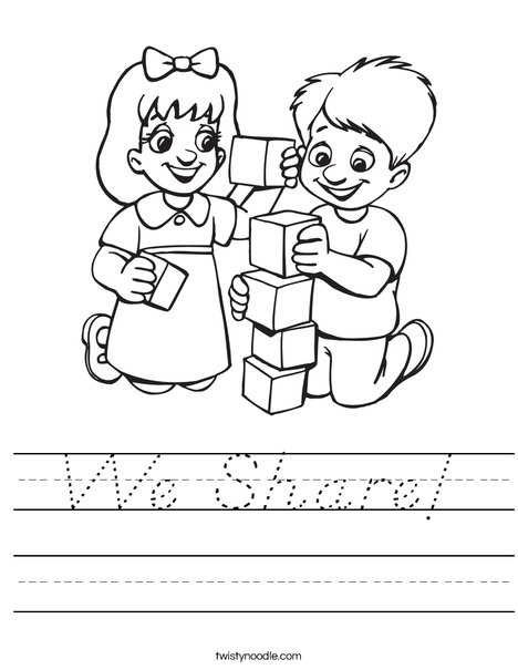 Kids Playing Blocks Worksheet