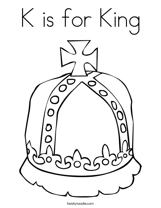 K is for King Coloring Page