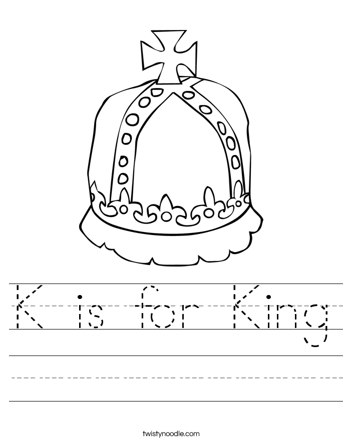 K is for King Worksheet