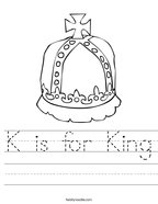 K is for King Handwriting Sheet