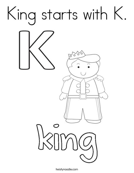 King starts with K. Coloring Page