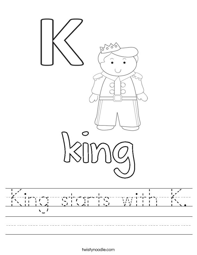 King starts with K. Worksheet