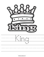 King Handwriting Sheet