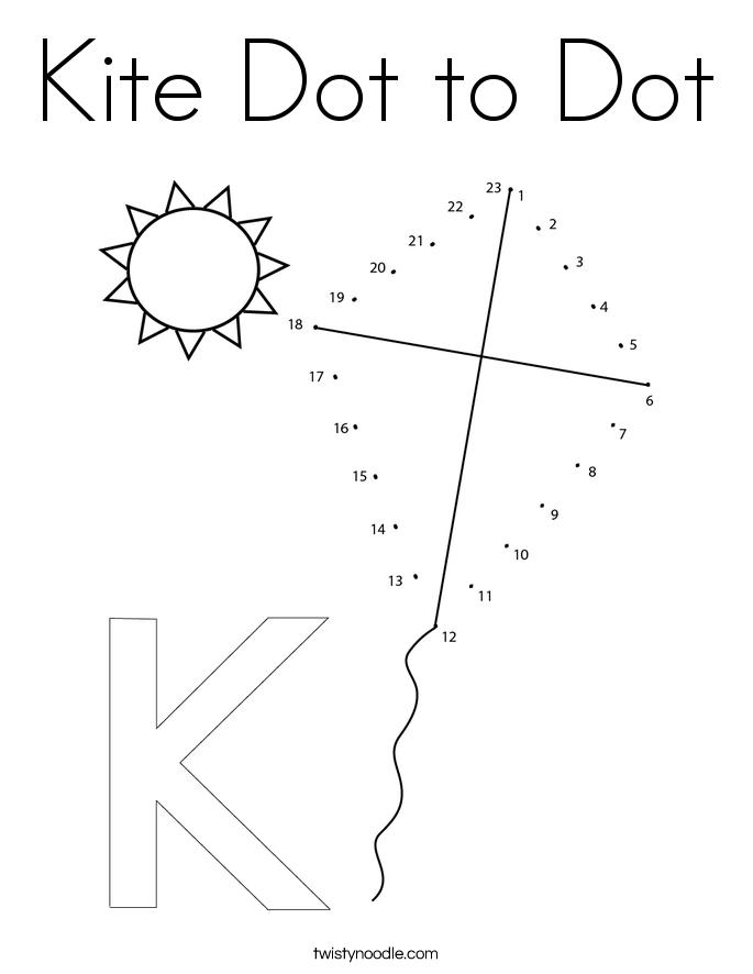 Kite Dot to Dot Coloring Page
