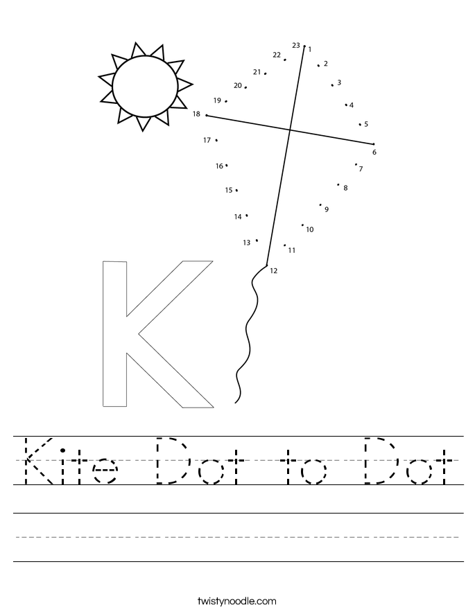 Kite Dot to Dot Worksheet