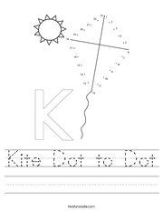 Kite Dot to Dot Handwriting Sheet