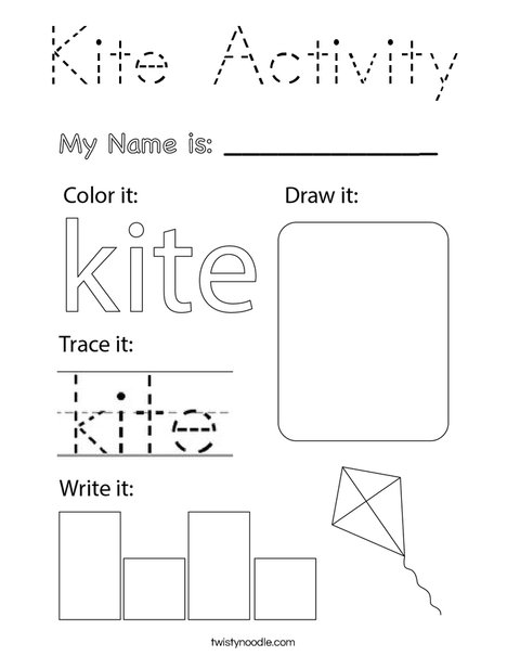 Kite Activity Coloring Page
