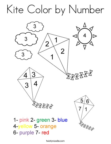 Kite Color by Number Coloring Page
