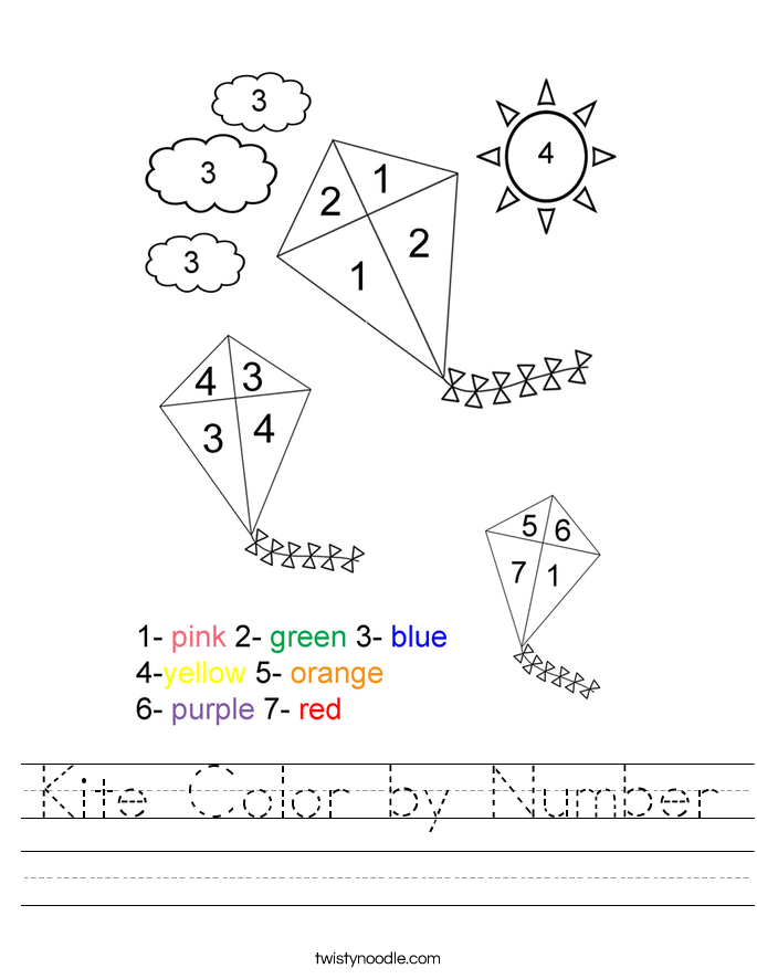 Kite Color by Number Worksheet