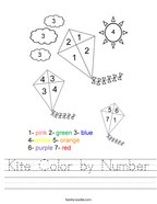 Kite Color by Number Handwriting Sheet
