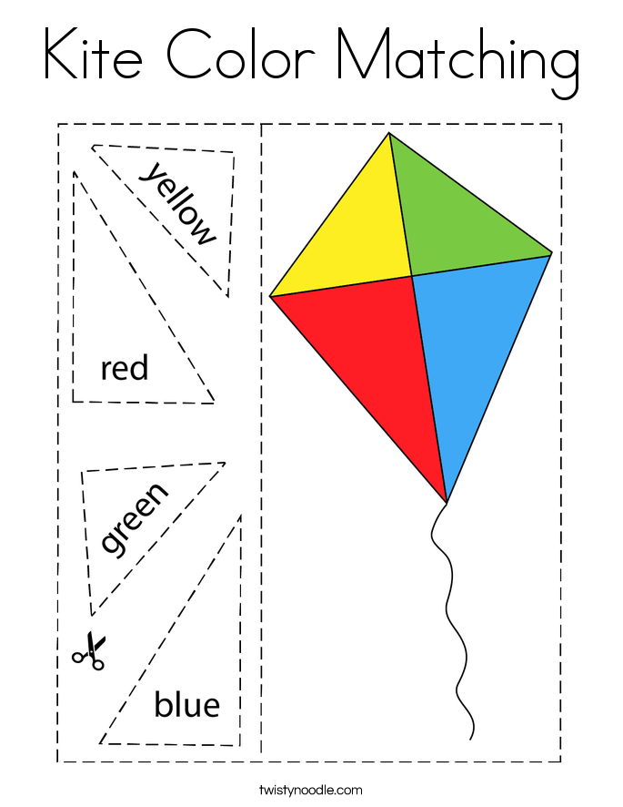 Kite Color Matching Coloring Page