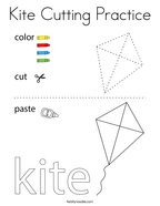 Kite Cutting Practice Coloring Page