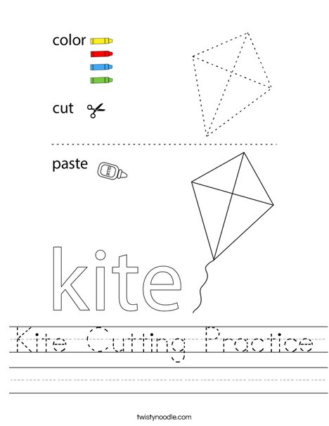 Kite Cutting Practice Worksheet