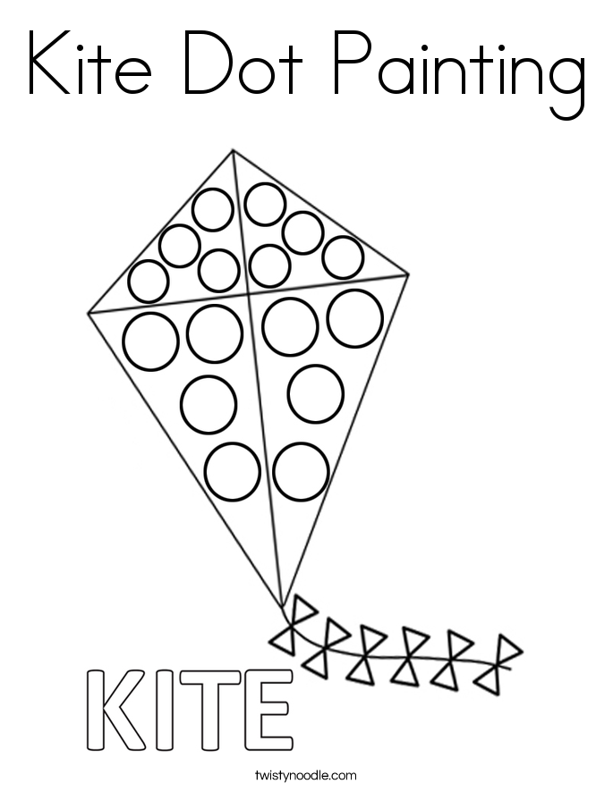 Kite Dot Painting Coloring Page