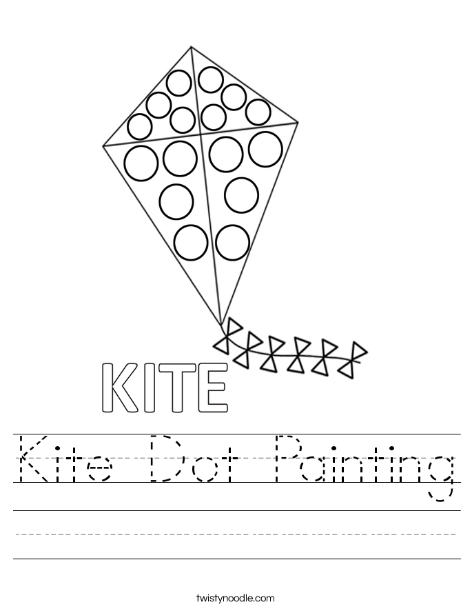 Kite Dot Painting Worksheet