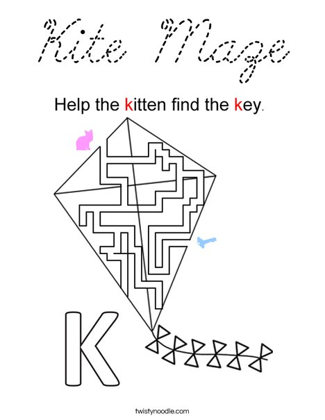 Kite Maze Coloring Page
