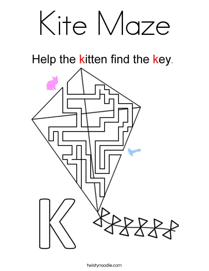 Kite Maze Coloring Page