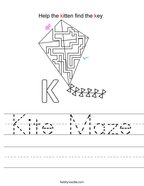Kite Maze Handwriting Sheet