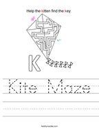 Kite Maze Handwriting Sheet
