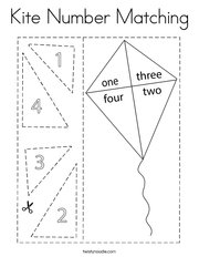 Kite Number Matching Coloring Page