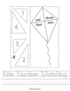 Kite Number Matching Handwriting Sheet