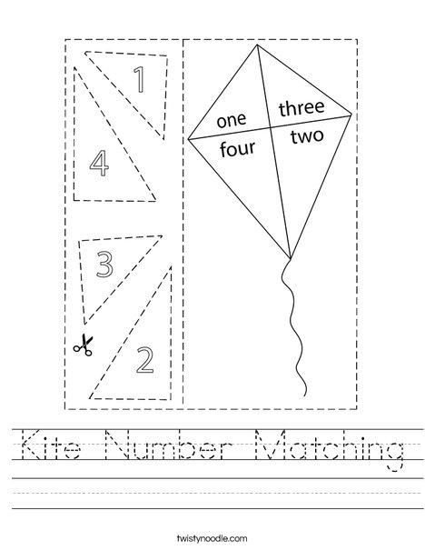 Kite Number Matching Worksheet