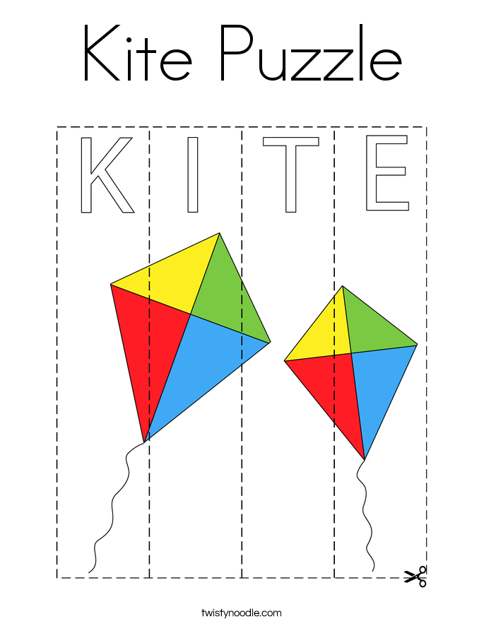 Kite Puzzle Coloring Page