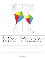 Kite Puzzle Handwriting Sheet