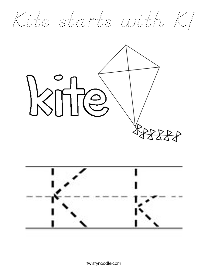 Kite starts with K! Coloring Page