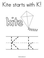 Kite starts with K Coloring Page