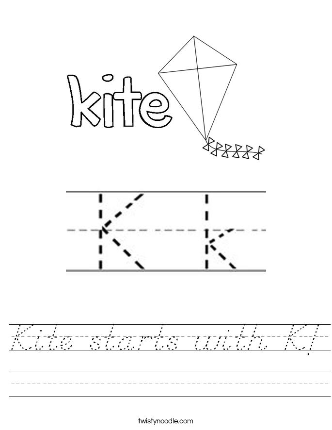 Kite starts with K! Worksheet