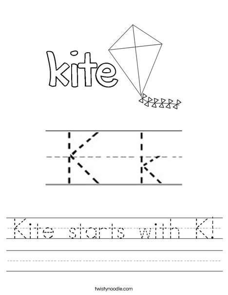 Kite starts with K! Worksheet