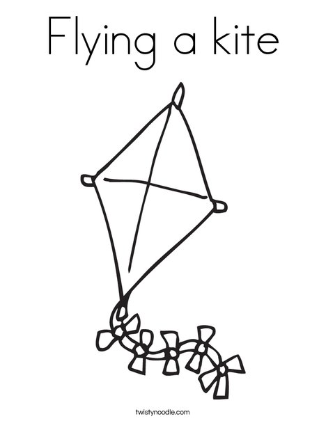 kite with bows coloring page - Kite Coloring Page