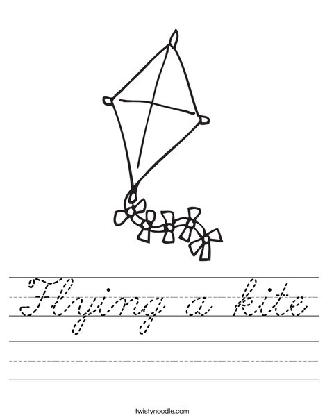 Kite with Bows Worksheet