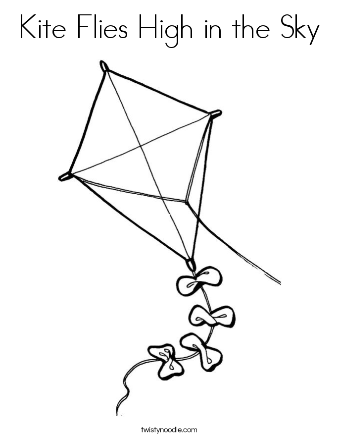 Kite Flies High In The Sky Coloring Page